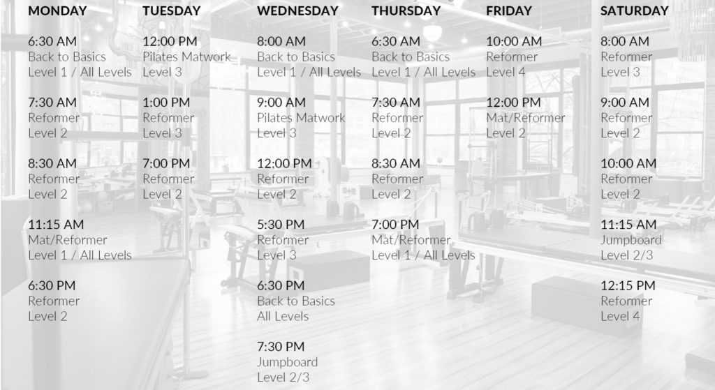 Pilates group class schedule