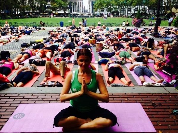 Julie Graham Yoga Class at Bryant Park NYC