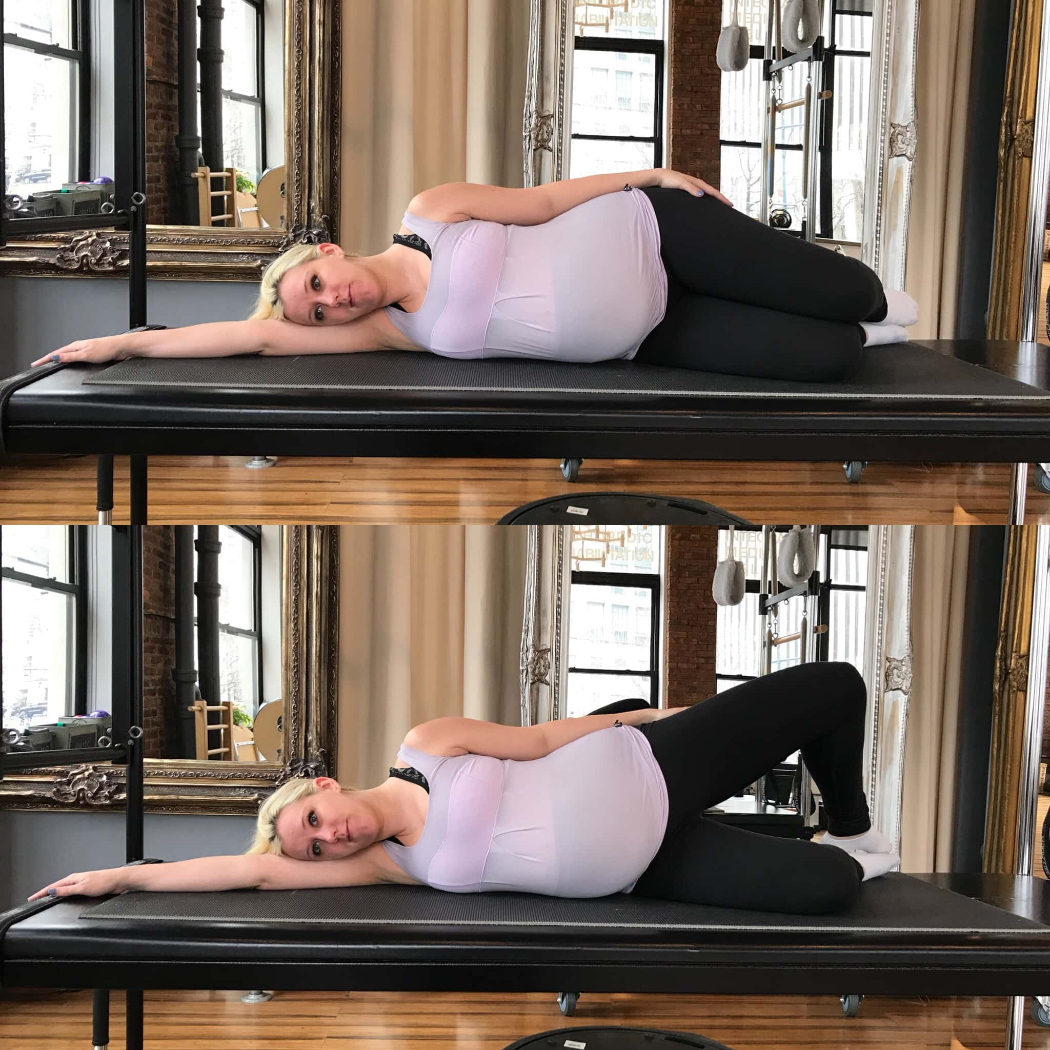 Prenatal Pilates Exercises - Practicing Prenatal Pilates Clamshell Exercise for Strenghtening and Toning | https://physiologicnyc.com/pilates-movement/