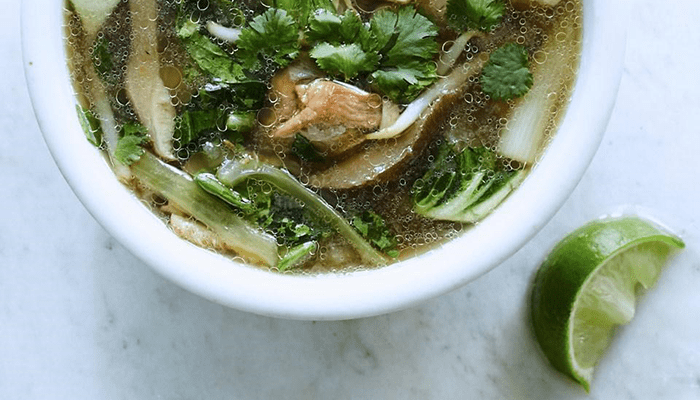 Asian-inspired Chicken Soup contains food that boosts immune system.
