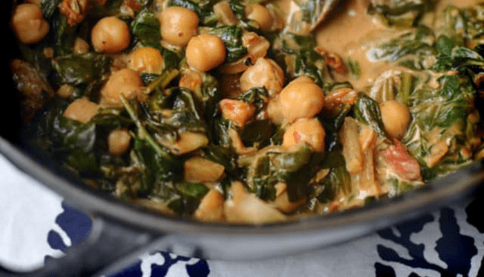 Coconut Spinach and Chickpeas contains food that boosts immune system.